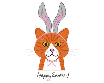 Happy Easter cat cards, pussy cat in bunny ears, gray rabbit ears, orange tiger kitty, cat illustration, smiling marmalade cat, chat, gato
