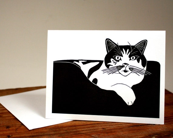 Cat Note Card, Blank Kitty Cat Card, black and white card, Queen of the House, pussy cat, regal feline, cat lover, smiling cat, chat, gato