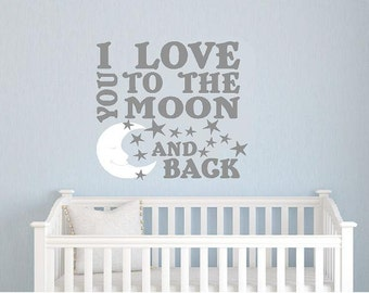 I love you to the moon and back-Vinyl Lettering wall  decal words graphics Home decor itswritteninvinyl