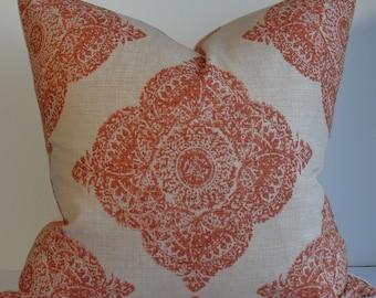 Terracotta Wood block Batik pillow cover Decorative Mani Throw pillow from Duralee linen accent pillow
