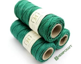Hemp Twine, Green - High Quality 1mm Shamrock Green Colored Hemp Craft Cord