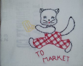 Vintage Embroidered Feedsack Tablecloth