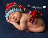 Baby hat, newborn hat, photo prop pixie elf hat with long tail in brown, blue, and red or custom colors are available