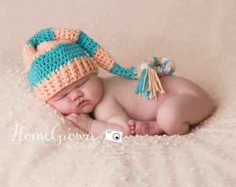 Baby hat, newborn hat, photo prop pixie elf hat with long tail custom colors are available