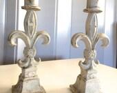 Pair of Fleur De Lis Wrought Iron Candle Holders