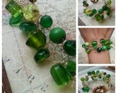 SALE. Kelly Green and Hummingbird. Wire Crocheted Bracelet