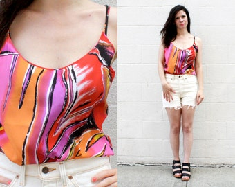 SALE - 80s Abstract Print Silk Cami SIZE M