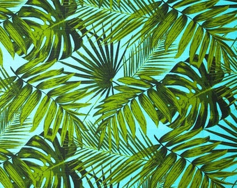 Aqua Tropical Floral Decorative Designer Pillow Cover 18 Accent Cushion palm fronds Leaves nature ferns modern martinique Resort green blue