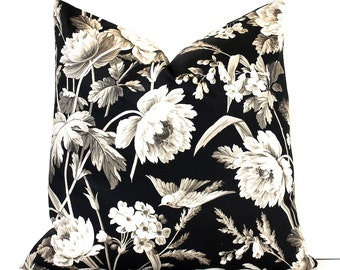 Modern Black Floral Decorative Designer Pillow Cover Accent blossoms oriental chinoiserie grey ivory charcoal hollyhock birds gray tan taupe