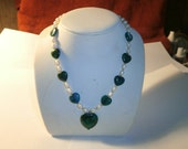 Vintage Necklace Genuine Pearl/Green Turquoise Hearts 925 Clasp circa 1995