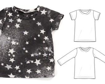 kids t-shirt sewing pattern // long & short sleeve // pdf download // 0M to 6T // #24