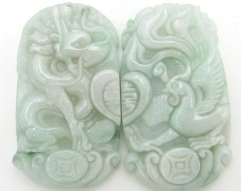 Carved Dragon Phoenix Love Heart Xi Pair Natural Jadeite Amulet Pendant 38mm*22mm  Cy167