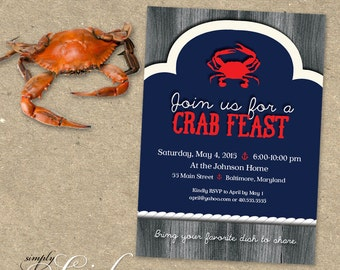 Crab Feast Party Invitation Maryland Blue Crabs Steamed Crabs Seafood Boil