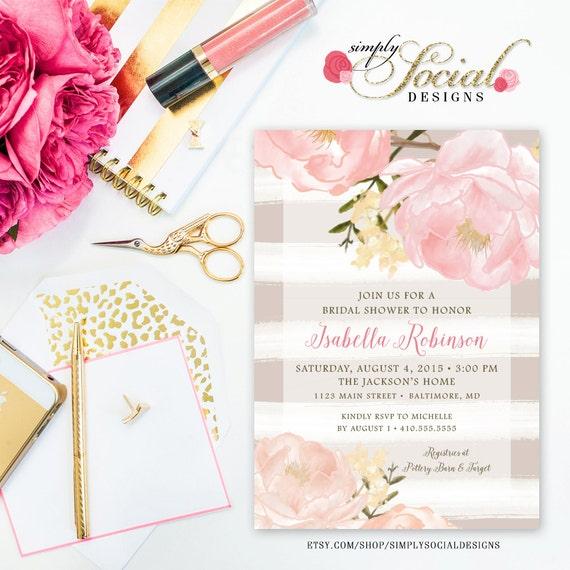 Romantic Garden Peonie Flowers Taupe Stripes Blush Pink Bridal Shower Invitation Printable