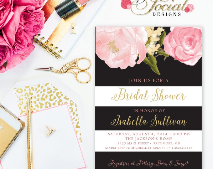 Peony Stripe Shower Invitation - Romantic Garden Floral Flowers Stripes Blush Pink Bridal Shower Invitation Printable