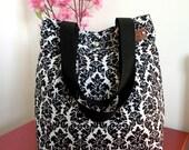 Black & White Diaper Bag Tote Bag Purse Quilted Hobo Bag Damask Shoulder Bag School bag teacher Bag