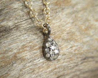 Tiny Pave Diamond Necklace Minimalist Diamond Teardrop