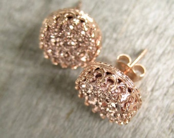 Rose Gold Druzy Earrings, Rose Gold Druzy Studs, Titanium Druzy Quartz Studs, Crown Setting, Crown Earrings