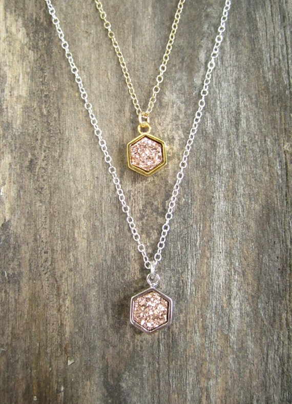 Stunning rose gold druzy necklaces