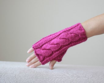Fuschia knit gloves, Fuschia fingerless glove, Knit fingerless glove, Fingerless hand warmer women, Fuschia mitten for women