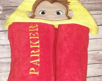 Custom Curious George Monkey Hooded Towel