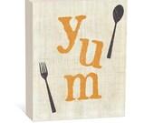 Yum   Food Art,   Woodblock Art Sign