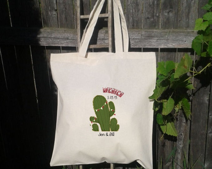 Wedding destination welcome totes - Tote Bag for Wedding - Cactus with Banner