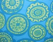 erin mcmorris 15 yards of fabric, teal and yellow cartwheel fabric