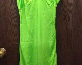 Vintage neon green rockabilly pinup festival gothic lace slip dress small