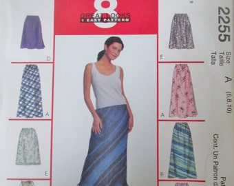 McCalls 2255 Womens 1999 Pull on Bias Skirt Sewing Pattern Hip 32 33 34
