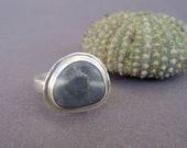 RESERVED    Beach Stone Ring,  Sterling Silver Ring, Beach Pebble Ring U.S. Size 6