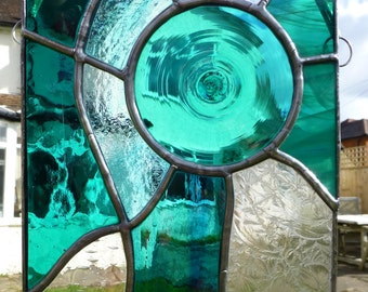 Turquoise Teal Stained Glass Panel with Hand Made Glass Turqouise Roundel