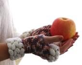 Crochet mittens,Fingerless Gloves, Knit arm warmers, weave braids, Gift Ideas For Her, Winter Accessories