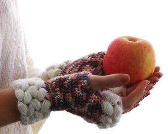 SALE, Crochet mittens,Fingerless Gloves, Knit arm warmers, weave braids, Gift Ideas For Her, Winter Accessories