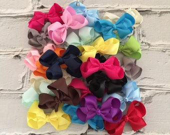"""Boutique Baby Girl Set of 5 Hair Bow Clip attached to alligator clip.You pick 5 colors. 3"""" Hairbows Hair Clips"""