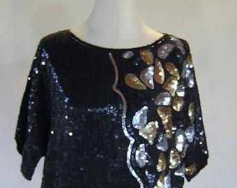 Joseph Le Bon Slouchy Sequin Shirt Top Diva Glam