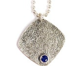 Silver square abstract pendant,  Blue stone necklace, Navy long pendant