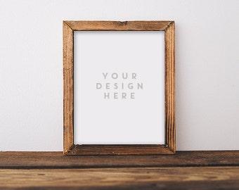 Plain Jane Wood Frame, Stock Photography, Wooden Rustic Frame, Hipster Frame, Frame Mockup Frame Mock Up, Wall Art Display Template