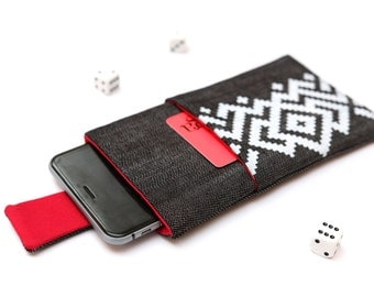 Nokia 6 sleeve, Nokia 5 sleeve case pouch magnetic closure dark jeans with pocket white ornament pattern