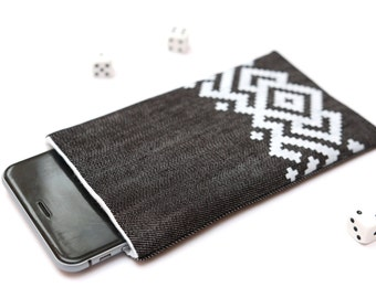 Nokia 6 sleeve, Nokia 5 sleeve case pouch dark jeans and white with a pocket white ornament pattern