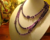 "Astonishing 70"" Long GENUINE AMETHYST & SWAROVSKI Crystal Sautoir Flapper Necklace - One of A Kind"