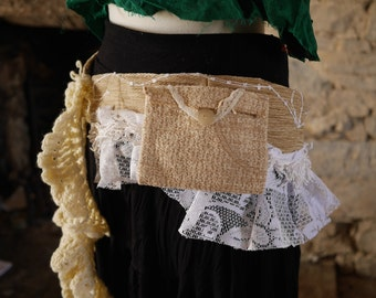 Beige & white festival pocket belt. Gypsy, tribal, rave, bohemian hip bag, Glastonbury, Burning Man