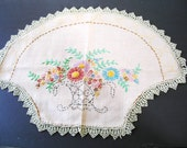VINTAGE Hand EMBROIDERY Flower Basket  Lace  DOILY