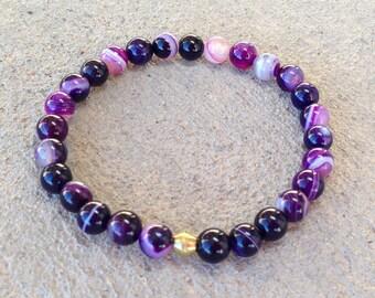 Transformation, purple agate mala bracelet