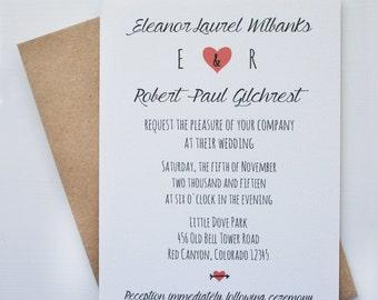 Wedding Invitation -- Arrowed  -- Customizable Set