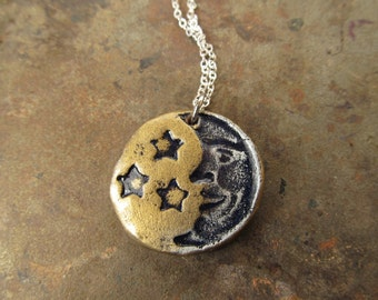 Necklace Moon and 3 Stars in Gold and Silver colors on silver plated chain