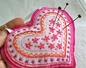 """Pink Heart Pincushion OOAK Flowers Valentines Day Gift Handmade  Embroidery 5 1/2"""" x 5"""", 1 heart"""