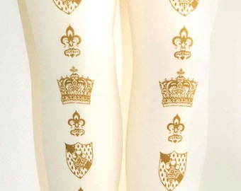 Crown Printed Tights Medium Tall Gold on Ivory Cream 70 Den Womens Dolly Kei Victorian Classic Lolita