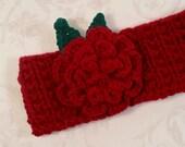 Maroon Headband, Ear Warmer with a detachable rose hair clip (barrette). Knitted headband. Crocheted flower. Accessory.