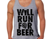 Will Run for Beer Unisex Running Tank, Crossfit Fitness Workout Tank